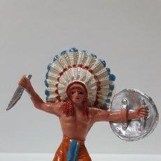 Figuras de Goma y PVC: JEFE INDIO . REALIZADO POR JECSAN . AÑOS 60 / 70. Lote 169728612