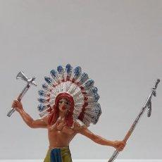 Figuras de Goma y PVC: JEFE INDIO . REALIZADO POR JECSAN . AÑOS 60 / 70. Lote 169777976