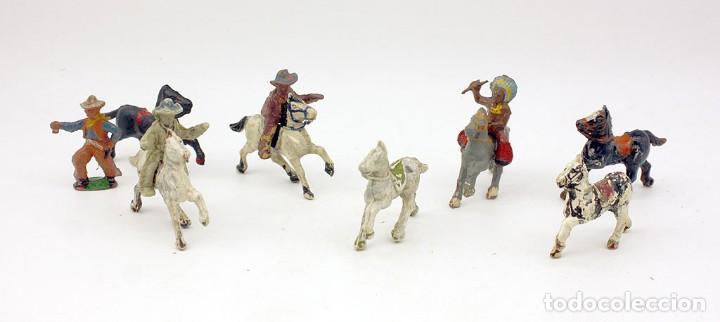 INDIOS Y AMERICANOS - ALCA CAPELL - 45MM - GOMA - LOTE DE FIGURAS: VAQUEROS, INDIOS Y CABALLOS (Juguetes - Figuras de Goma y Pvc - Capell)