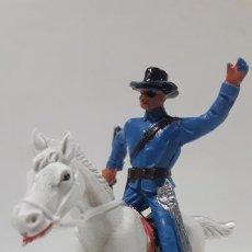 Figuras de Goma y PVC: OFICIAL FEDERAL - YANKEE A CABALLO . REALIZADO POR JECSAN . AÑOS 60. Lote 170064148