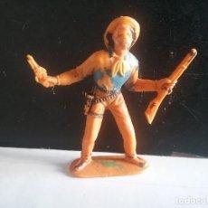 Figuras de Goma y PVC: LOTE FIGURA JECSAN ORIGINAL VAQUERO COWBOY NO INDIOS OESTE AÑOS 60/70.PTOY. Lote 170106452