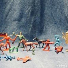 Figuras de Goma y PVC: LOTE 14 FIGURAS DE PVC INDIOS PATA PALO SOLDADOS DRAGON CABALLERIA 1 COMANSI VARIAS MEDIDAS. Lote 170397600