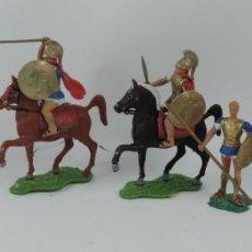 Figuras de Goma y PVC: 7 FIGURAS AOHNAS SOLDADOS GRIEGOS ATHENAS GRECE, BRAZOS MOVILES Y EL CASCO SE LES PUEDE QUITAR, MIDE. Lote 170492560
