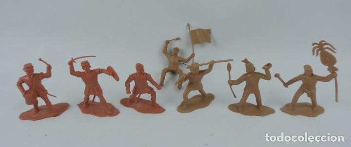 7 FIGURAS DE REAMSA, SERIE HERNÁN CORTÉS, CONQUISTADORES Y AZTECAS, REALIZADOS EN PLASTICO, MIDEN 8 (Juguetes - Figuras de Goma y Pvc - Reamsa y Gomarsa)