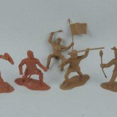 Figuras de Goma y PVC: 7 FIGURAS DE REAMSA, SERIE HERNÁN CORTÉS, CONQUISTADORES Y AZTECAS, REALIZADOS EN PLASTICO, MIDEN 8 . Lote 170495440