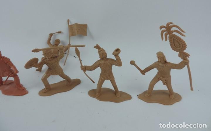 Figuras de Goma y PVC: 7 FIGURAS DE REAMSA, SERIE HERNÁN CORTÉS, CONQUISTADORES Y AZTECAS, REALIZADOS EN PLASTICO, MIDEN 8 - Foto 2 - 170495440