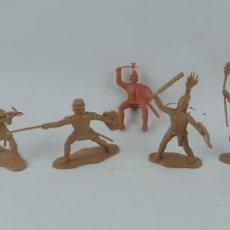Figuras de Goma y PVC: 7 FIGURAS DE REAMSA, SERIE HERNÁN CORTÉS, CONQUISTADORES Y AZTECAS, REALIZADOS EN PLASTICO, MIDEN 8 . Lote 170495520