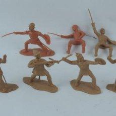 Figuras de Goma y PVC: 9 FIGURAS DE REAMSA, SERIE HERNÁN CORTÉS, CONQUISTADORES Y AZTECAS, REALIZADOS EN PLASTICO, MIDEN 8 . Lote 170501732