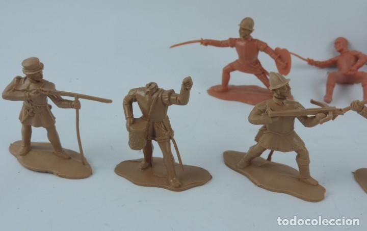 Figuras de Goma y PVC: 9 FIGURAS DE REAMSA, SERIE HERNÁN CORTÉS, CONQUISTADORES Y AZTECAS, REALIZADOS EN PLASTICO, MIDEN 8 - Foto 3 - 170501732