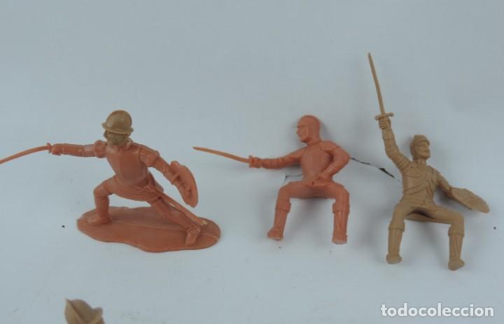 Figuras de Goma y PVC: 9 FIGURAS DE REAMSA, SERIE HERNÁN CORTÉS, CONQUISTADORES Y AZTECAS, REALIZADOS EN PLASTICO, MIDEN 8 - Foto 4 - 170501732