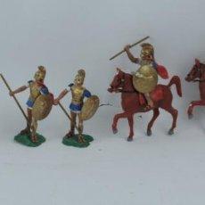 Figuras de Goma y PVC: 7 FIGURAS AOHNAS SOLDADOS GRIEGOS ATHENAS GRECE, BRAZOS MOVILES Y EL CASCO SE LES PUEDE QUITAR, MIDE. Lote 170505324