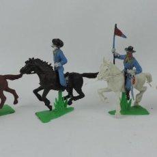 Figuras de Goma y PVC: 4 FIGURAS DEL SEPTIMO DE CABALLERIA, CON CABALLOS CON BASE. REALIZADO POR JECSAN . AÑOS 60 / 70. Lote 170611400