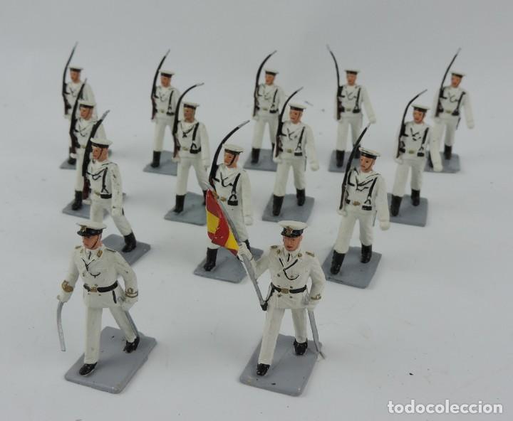 14 SOLDADOS DEL DESFILE DE MARINA DE GUERRA, REAMSA, GOMARSA, SOLDIS 70. REALIZADOS EN PLASTICO. (Juguetes - Figuras de Goma y Pvc - Reamsa y Gomarsa)