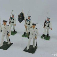 Figuras de Goma y PVC: 7 SOLDADOS DEL DESFILE DE MARINA DE GUERRA, REAMSA, GOMARSA, SOLDIS 70. REALIZADOS EN PLASTICO.. Lote 170667015