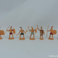 Figuras de Goma y PVC: 7 FIGURAS DE SOLDADOS ROMANOS, SARRACENOS?, REALIZADOS EN PLASTICO, MIDEN 8 CMS.. Lote 170722700