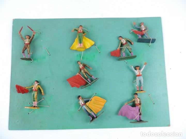 9 FIGURAS DE TOREROS, TOROS STARLUX, REALIZADOS EN PLASTICO, BANDERILLERO, MIDEN 5,5 CMS. (Juguetes - Figuras de Goma y Pvc - Starlux)