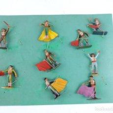 Figuras de Goma y PVC: 9 FIGURAS DE TOREROS, TOROS STARLUX, REALIZADOS EN PLASTICO, BANDERILLERO, MIDEN 5,5 CMS.. Lote 170728155