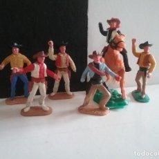 Figuras de Goma y PVC: TIMPO TOYS ENGLAND FIGURAS OESTE VAQUEROS COWBOYS A CABALLO Y A PIE 1/32 SWOPPET AÑOS 70.PTOY. Lote 170879430