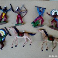 Figuras de Goma y PVC: FIGURAS INDIOS COMANSI PRIMERA ÉPOCA OESTE WESTERN CAMPAMENTO INDIO. Lote 171354948