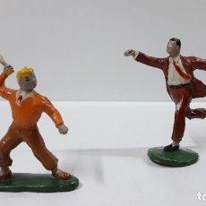 Figuras de Goma y PVC: ROBERTO ALCAZAR Y PEDRIN . REALIZADOS POR JIN . AÑOS 50 EN GOMA. Lote 171436008