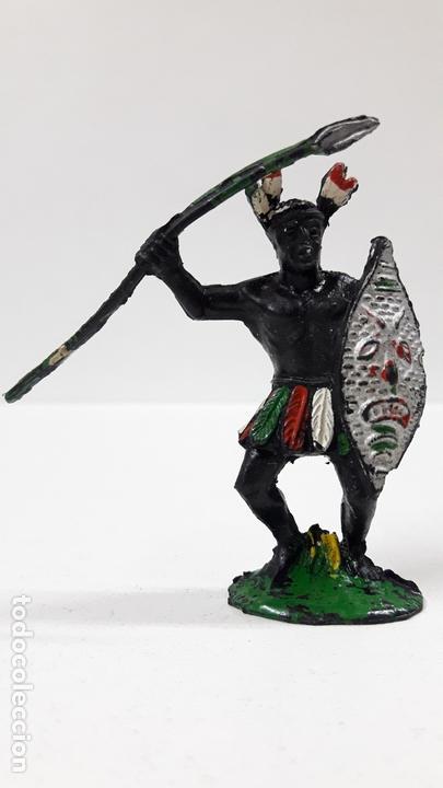 GUERRERO AFRICANO NEGRO . REALIZADO POR LAFREDO . SERIE TARZAN . AÑOS 50 EN GOMA (Juguetes - Figuras de Goma y Pvc - Lafredo)