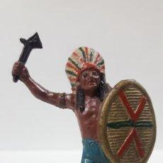 Figuras de Goma y PVC: JEFE INDIO . REALIZADO POR TEIXIDO . AÑOS 50 EN GOMA. Lote 171452467