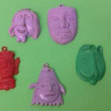 Figurines en Caoutchouc et PVC: REGALO PIPAS CHURRUCA. 5 MASCARAS DE PLÁSTICO. Lote 172011618