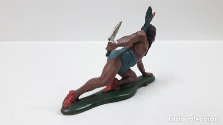 Figuras de Goma y PVC: GUERRERO INDIO CON PUÑAL ARRASTRANDOSE . REALIZADO POR TEIXIDO . AÑOS 50 EN GOMA - Foto 3 - 172789140