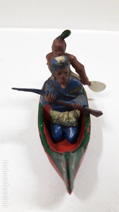 Figuras de Goma y PVC: CANOA INDIA CON REMERO Y EXPLORADOR . REALIZADA POR GAMA . AÑOS 50 EN GOMA - Foto 6 - 172874535