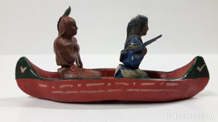 Figuras de Goma y PVC: CANOA INDIA CON REMERO Y EXPLORADOR . REALIZADA POR GAMA . AÑOS 50 EN GOMA - Foto 10 - 172874535