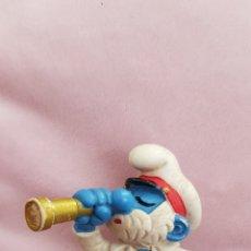 Figuras de Goma y PVC: FIGURA PAPA PITUFO CON CATALEJO SMURFS PITUFOS SCHLEICH 1981 PEYO PUFFI SCHLUMPFE. Lote 173560724
