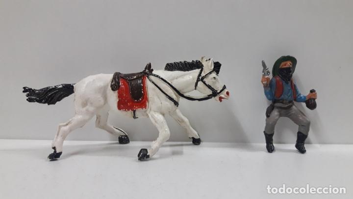 Figuras de Goma y PVC: VAQUERO BANDIDO A CABALLO . REALIZADO POR TEIXIDO . AÑOS 50 EN GOMA - Foto 7 - 173580157
