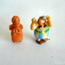 Figuras de Goma y PVC: DOS FIGURAS ANTIGUAS PVC - MUJER VICKY EL VIKINGO Y OBELIX - QUIZÁ KINDER. Lote 174014703