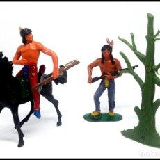 Figuras de Goma y PVC: LOTE INDIOS OESTE COMANSI JECSAN CUSTOM MAS ACCESORIO . Lote 174466589