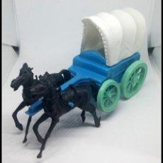 Figuras de Goma y PVC: CARRETA CABALLOS OESTE PLASTICO VAQUERO COMANSI JECSAN LAFREDO. Lote 174509928
