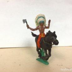 Figuras de Goma y PVC: FIGURA INDIO A CABALLO JECSAN OESTE WESTERN NO PECH REAMSA COMANSI LAFREDO . Lote 174754832