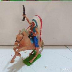 Figuras de Goma y PVC: FIGURA DE GOMA BRITAIN'S DEETEIL 1971VAQUEROS INDIOS OESTE FART WEST A CABALLO . Lote 175450084