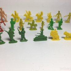 Figuras de Goma y PVC: LOTE DE SOLDADOS INDIOS TANQUE COCHE DILIGENCIA PLANOS DE MONTAPLEX. Lote 175457393