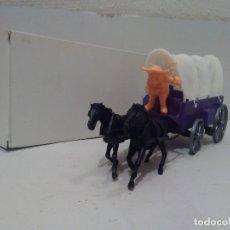 Figuras de Goma y PVC: CARRETA CON TOLDO - 2 CABALLOS - CAJA BLANCA. Lote 175884084
