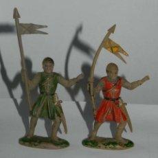 Figuras de Goma y PVC: 2 FIGURAS DE REAMSA MEDIEVAL CRUZADO ABANDERADO REFERENCIA 128. TAL Y COMO SE VE EN LAS FOTOGRAFIAS . Lote 175953084