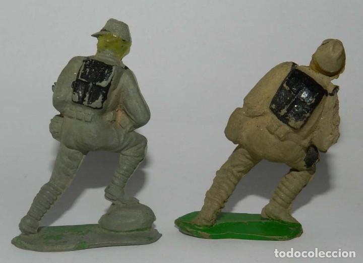 Figuras de Goma y PVC: 2 SOLDADOS JAPONESES. SERIE PUENTE SOBRE EL RIO KWAI. REALIZADO POR COMANSI. AÑOS 50 EN GOMA. - Foto 2 - 175954253