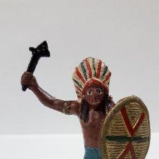 Figuras de Goma y PVC: JEFE INDIO . REALIZADO POR TEIXIDO . AÑOS 50 EN GOMA. Lote 175968758