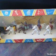 Figurines en Caoutchouc et PVC: GAMA - INDIOS A CABALLO EN CAJA ORIGINAL - AÑOS 50. Lote 175974499