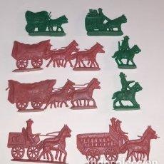 Figuras de Goma y PVC: LOTE DE CARAVANAS, DILIGENCIAS, CARRETAS Y COWBOYS TIPO MONTAPLEX. Lote 176416319