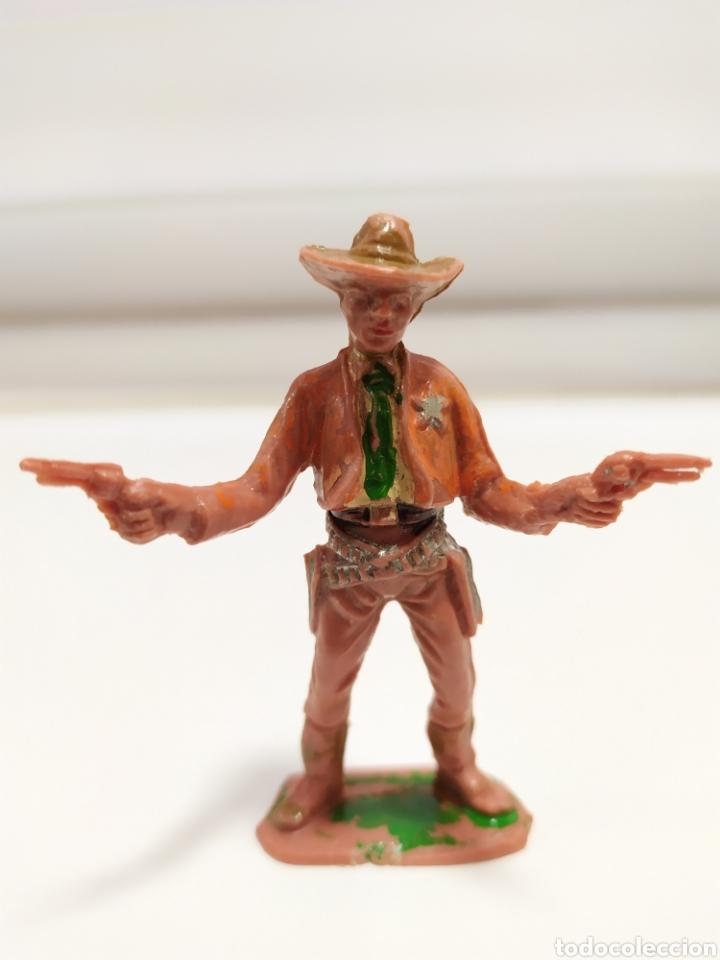 FIGURA PLASTICO DEL OESTE, COWBOY , SHERIFF COMANSI , 1º EPOCA, AÑOS 70 (Juguetes - Figuras de Goma y Pvc - Comansi y Novolinea)