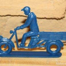 Figuras de Goma y PVC: PIPERO - FIGURA SEMIPLANA - SEÑOR EN MOTOCARRO - AZUL- PLASTICO - AÑOS 60 - MOTO MOTOCICLISTA. Lote 176463540