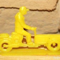 Figuras de Goma y PVC: PIPERO - FIGURA SEMIPLANA - SEÑOR EN MOTOCARRO - AMARILLO - PLASTICO - AÑOS 60 - MOTO MOTOCICLISTA. Lote 176463639