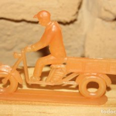 Figuras de Goma y PVC: PIPERO - FIGURA SEMIPLANA - SEÑOR EN MOTOCARRO - NARANJA - PLASTICO - AÑOS 60 - MOTO MOTOCICLISTA. Lote 176463685