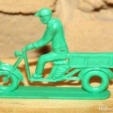 Figuras de Goma y PVC: PIPERO - FIGURA SEMIPLANA - SEÑOR EN MOTOCARRO - VERDE - PLASTICO - AÑOS 60 - MOTO MOTOCICLISTA. Lote 176463738