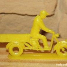 Figuras de Goma y PVC: PIPERO - FIGURA SEMIPLANA - SEÑOR EN MOTOCARRO - AMARILLO - PLASTICO - AÑOS 60 - MOTO MOTOCICLISTA. Lote 176463885
